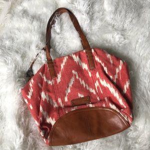 Lucky Brand coral ikat tribal print purse bag